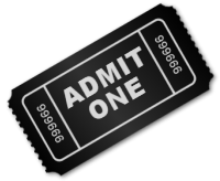 a black ticket for the Interactive Exhbit